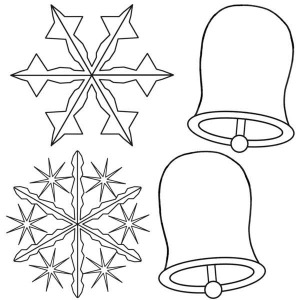 Christmas Snowflakes And Bell Coloring Page