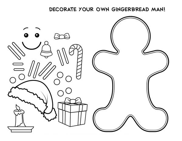 Gingerbreadman and Gingerbreadhouse Chrsitmas Coloring Page for ... | 464x600