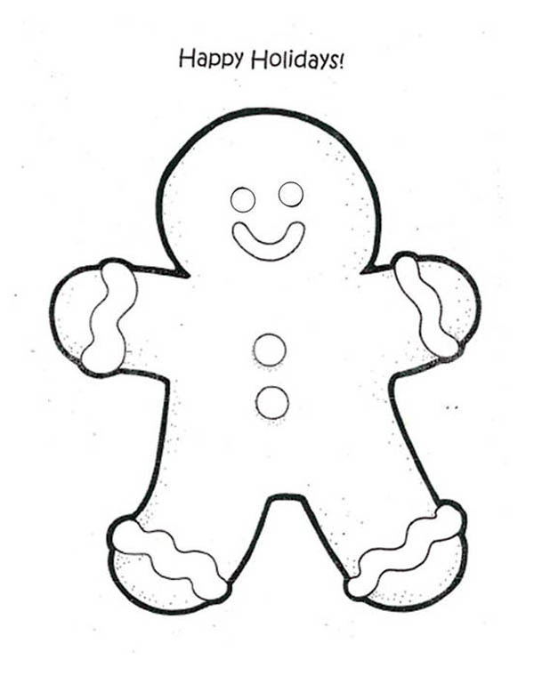 happy holidays say mr gingerbread men on christmas coloring page