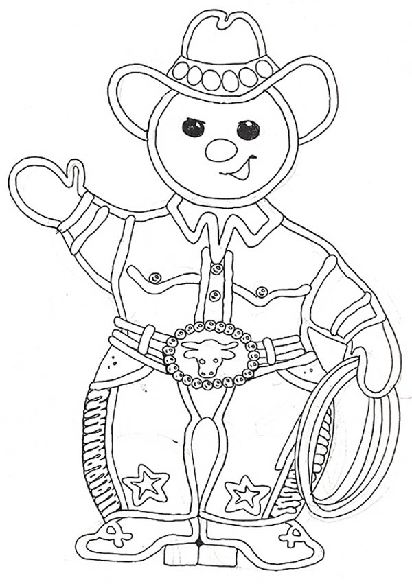 Mr Gingerbread Men as a Cowboy on Christmas Coloring Page