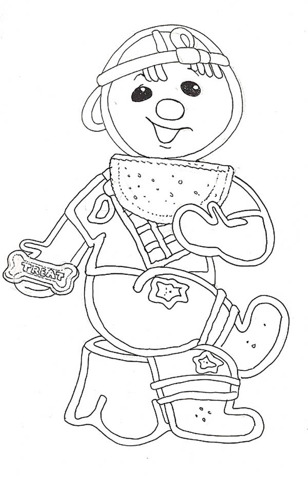 Mr Gingerbread Men As A Kid On Christmas Coloring Page