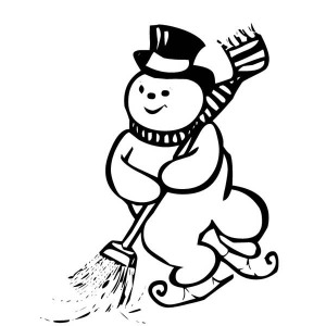 Mr Snowman Play Ice Skating On Christmas While Cleaning The Street Coloring Page