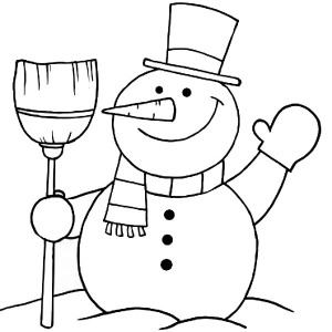 Mr Snowman On Christmas Greetings Everyone Coloring Page