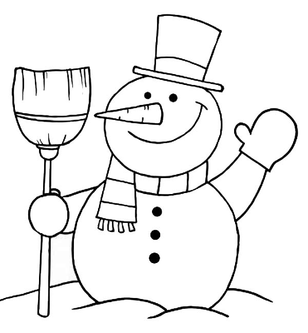 Mr Snowman On Christmas Touching A Snowflake Coloring Page: Mr Snowman On Christmas Greetings Everyone Coloring Page
