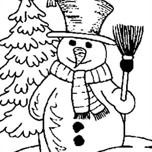 Mr Snowman On Christmas Holding Broomstick With Bird Coloring Page