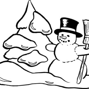 Mr Snowman On Christmas Making Snow Mountain Coloring Page