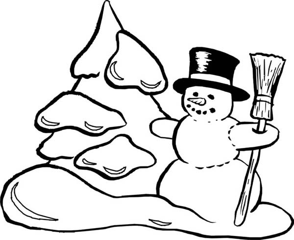 Mr Snowman On Christmas Making Snow Mountain Coloring Page ...