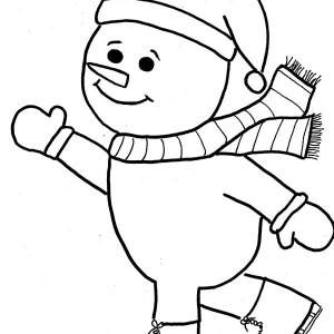 Mr Snowman On Christmas Is Doing Ice Skating Coloring Page