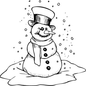 Mr Snowman On Christmas Is Getting Cold Coloring Page