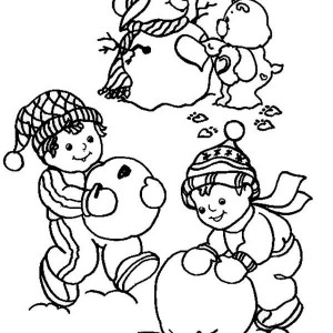 Young Children Making Mr Snowman For Christmas Coloring Page