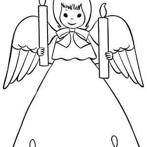 An Angel Bring Us Two Christmas Candle Coloring Pages