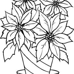 Charming Poinsettia Flower In Flowerpot Coloring Page
