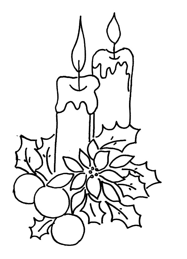 christmas candle decorated with flower and leaves coloring pages