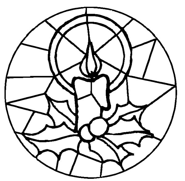 Christmas Candle Glass Art At Church Coloring Pages Download