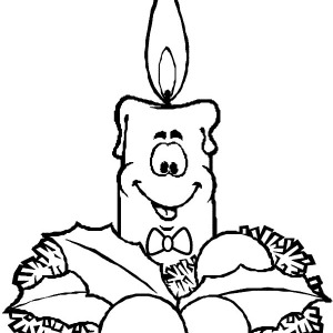 Christmas Candle Smiling Face Coloring Pages