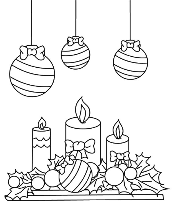 Christmas Candle Under Mistletoe Coloring Pages Download