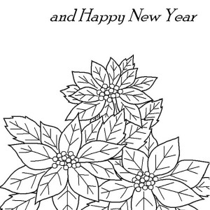 Christmas And New Years Eve Decor With Poinsettia Flower Coloring Page