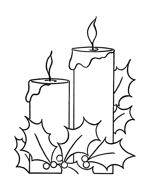 Holy Night Christmas Candle Coloring Pages Download