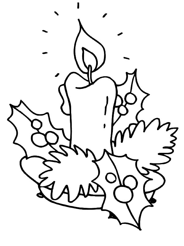 introducing christmas candle to kindergarten kids coloring pages