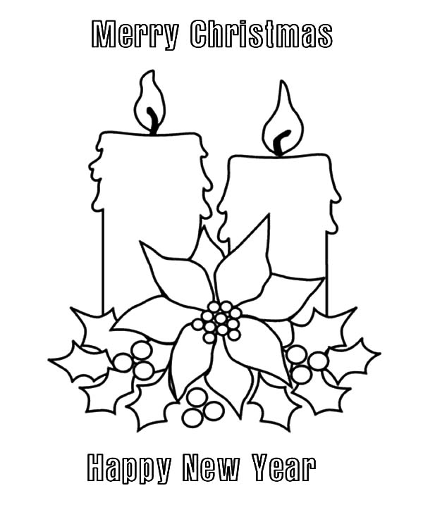 Merry Christmas Candle And Happy New Year Coloring Pages