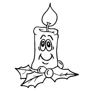 Smiling Christmas Candle Coloring Pages