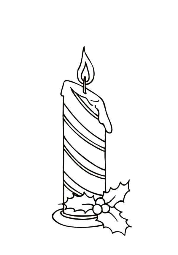 Stripe Christmas Candle Coloring Pages Download Print