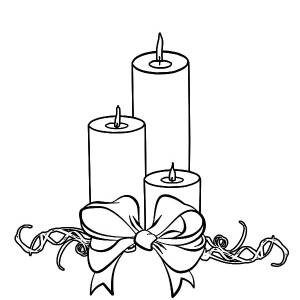 Three Christmas Candle Wrapped With Bow Coloring Pages