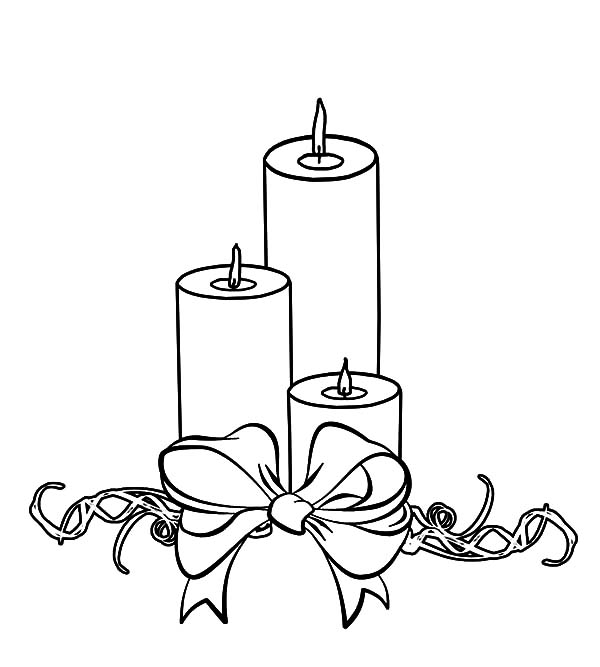 Three Christmas Candle Wrapped With Bow Coloring Pages Download