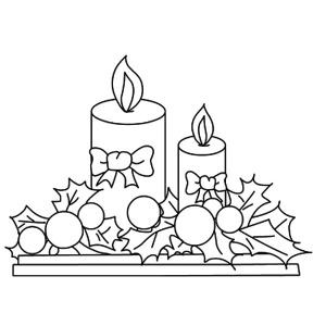 Two Beautiful Christmas Candle Coloring Pages