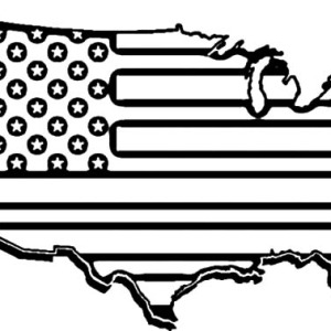 American Flag Map For Independence Day Coloring Pages