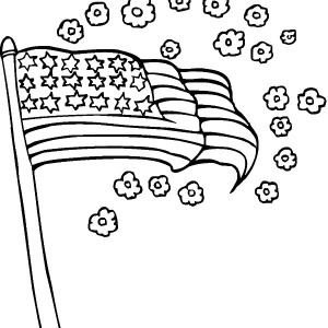 American Flag Smell Of Flower For Independence Day Coloring Pages