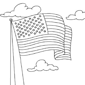 American Flag Waving For Independence Day Coloring Pages