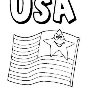 American Flag On Independence Day Coloring Page