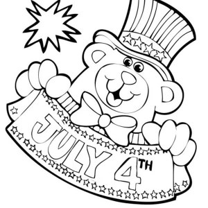 Bear Mascot For Independence Day Coloring Page