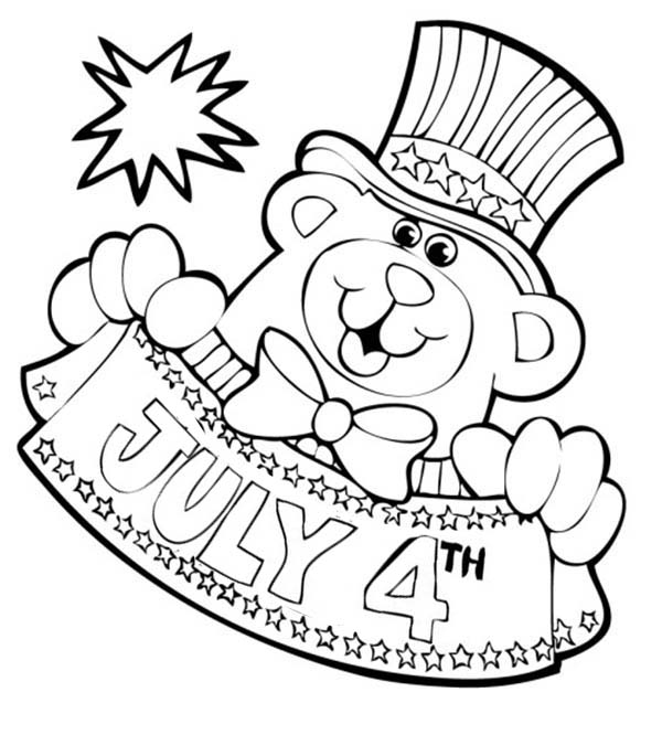 Bear Mascot For Independence Day Coloring Page - Download & Print Online Coloring  Pages For Free Color Nimbus