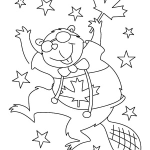 Beaver Dance On Canada Day Coloring Pages