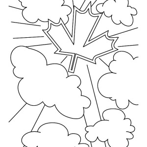 Canada Symbol On The Clouds In Canada Day Coloring Pages