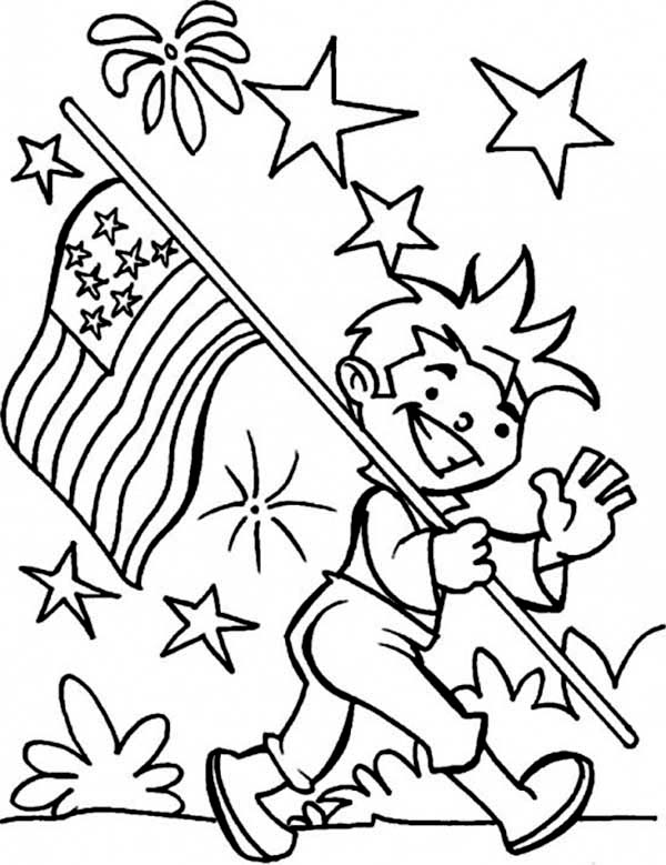 Carrying American Flag On Independence Day Coloring Page - Download & Print  Online Coloring Pages For Free Color Nimbus