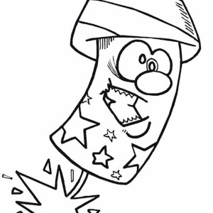 Cartoon Firecracker On Independence Day Coloring Page