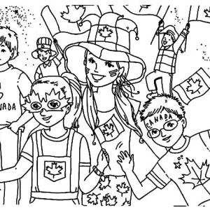 Celebration On The Street On Canada Day Coloring Pages