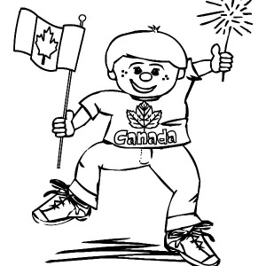 This Little Boy Is Really Joyful On Canada Day Coloring Pages