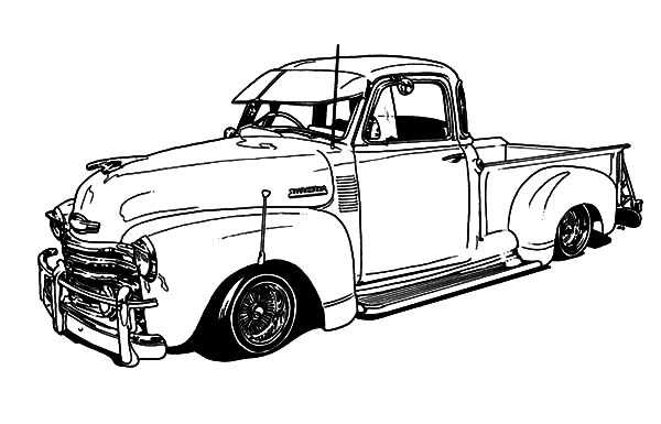 1950 Chevy Truck Lowrider Cars Coloring Pages Download Print