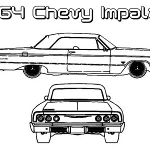 64 Chevy Impala Lowrider Cars Coloring Pages