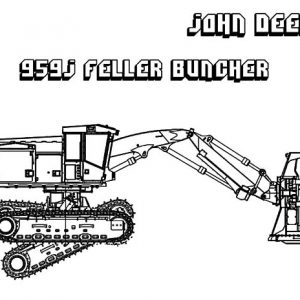 959J Feller Buncher Excavator Coloring Pages