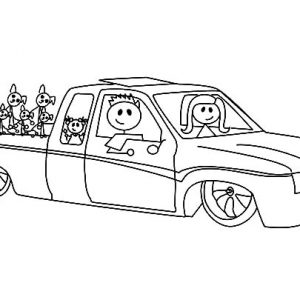 A Family In Lowrider Cars Coloring Pages