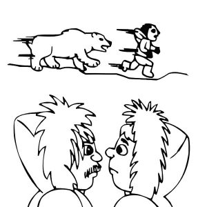 A Polar Bear Chasing Eskimo Girl Coloring Pages