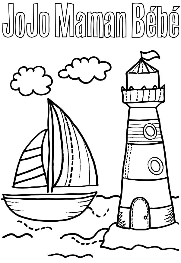 A Sailboat And Lighthouse Coloring Pages - Download & Print Online ...