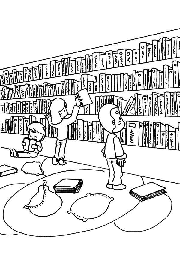 Activity In Library Coloring Pages - Download & Print Online Coloring Pages  For Free Color Nimbus