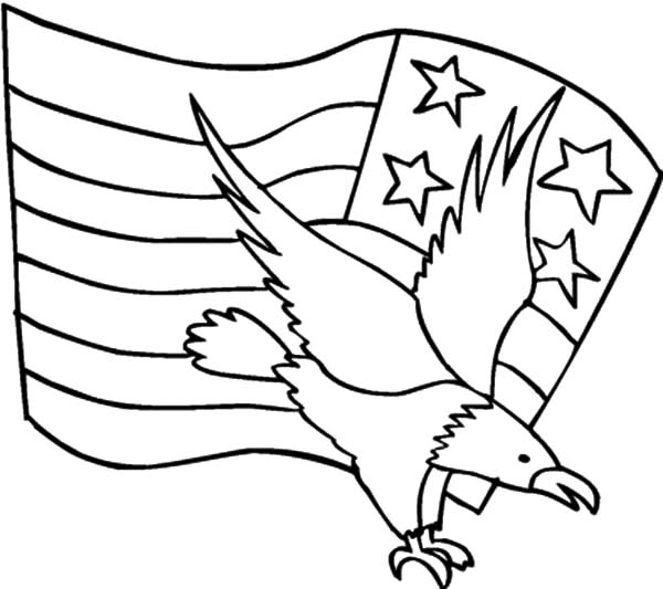 coloring pages eagle with flag - photo#6