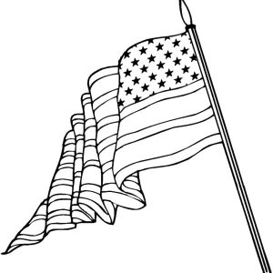 American Flag On Flagpole For Flag Day Coloring Pages